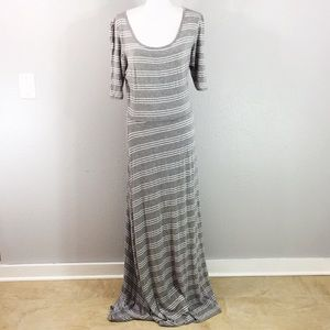Lularoe Ana gray white stripe maxi dress